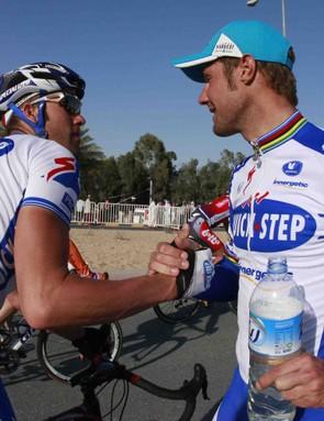 QuickStep teammates Kevin Van Impe (L) and Tom Boonen in Qatar.