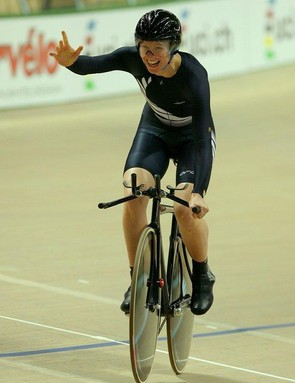 Delight for Alison Shanks (New Zealand) as winning the gold sinks in