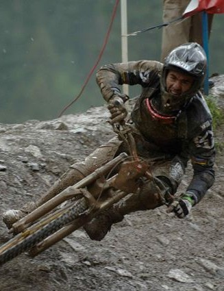 Nico Vouilloz at the Champery World Cup round in 2007