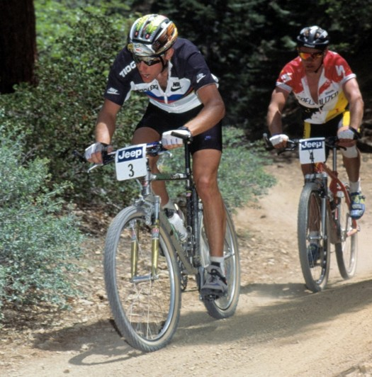 John Tomac leads a Specialized Factory racer in an early 1990s NORBA cross country race.