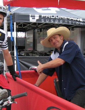 Joel Smith (L) and John Tomac, when Smith worked for Answer-Manitou.