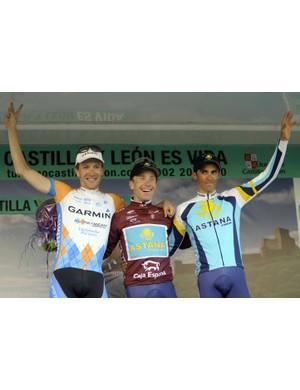 The final podium for the Castilla y Leon: Americans Dave Zabriskie, Levi Leipheimer and Spaniard Albero Contador.
