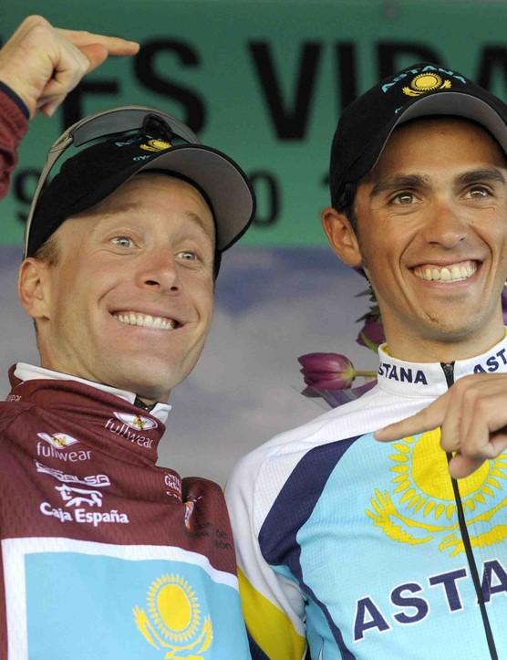 Astana teammates Levi Leipheimer and Alberto Contador seem to agree on who may win the 2009 Tour de France...