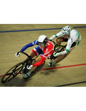 Britain's Victoria Pendleton in action during the UCI Track World's in Poland March 27, 2009.