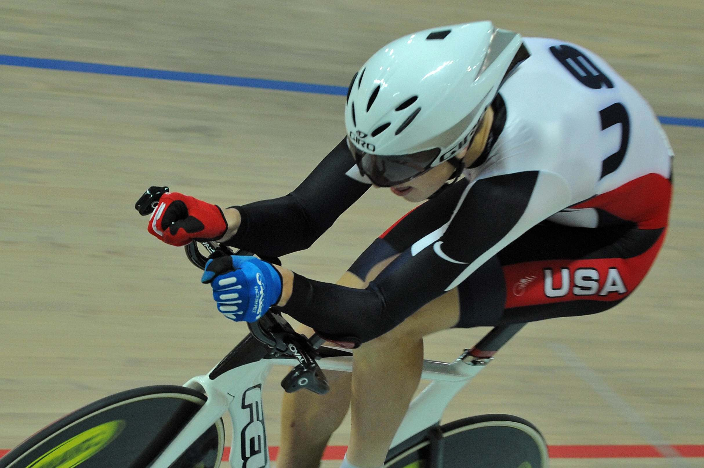 American Taylor Phinney competes in the men's 1 kilometre, finishing second Friday.