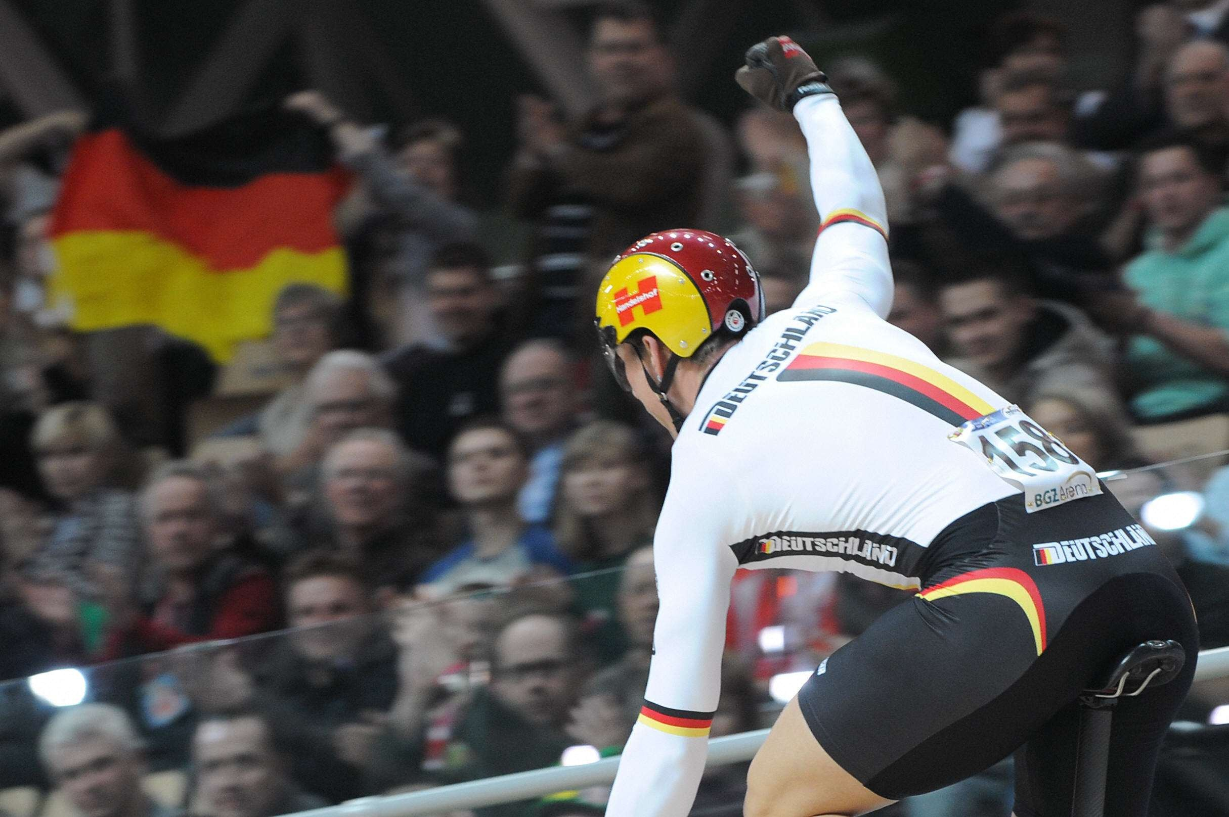 Germany's Stefan Nimke celebrates after winning the men's 1km time trial final during the UCI Track World Championships 2009 on March 27, 2009 at the BGZ Arena in Pruszkow, Poland.