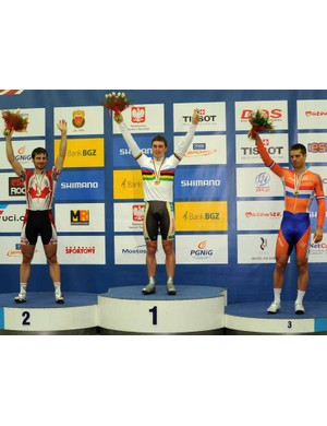 Men's omnium champion, Australian Leigh Howard, flanked by Zach Bell (Can) and Tim Veldt (Ned)