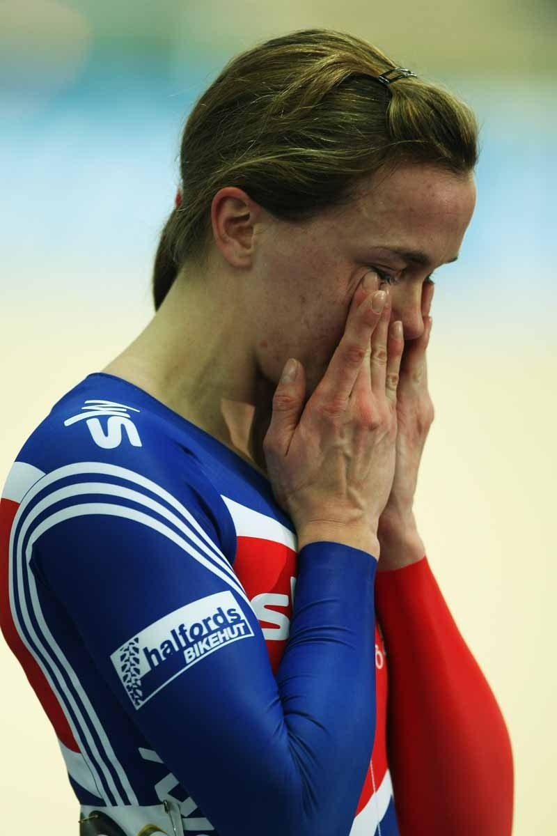 An emotional Victoria Pendleton after her win