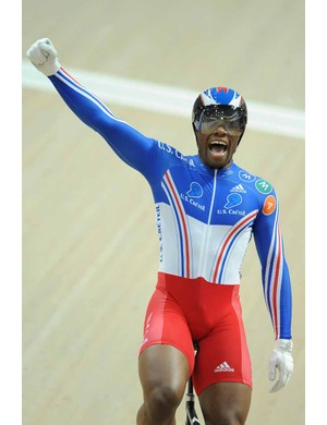 Gregory Bauge celebrates his win in the men's sprint