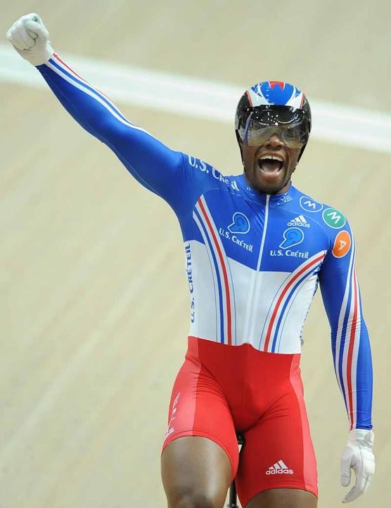 Gregory Bauge celebrates his win in the men's sprint