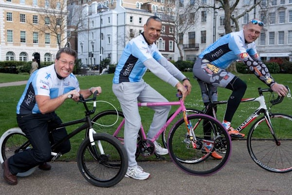 DJ Neil Fox joined ex senior decathlon champ Snowy Brooks (C) and ex road racer Magnus Backstedt in London March 27.