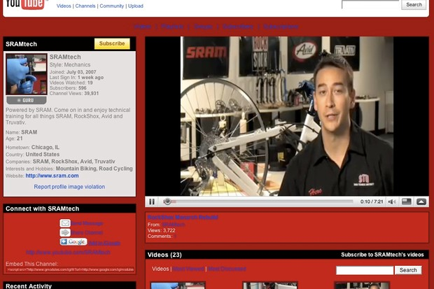 The new SRAM Tech channel on YouTube.