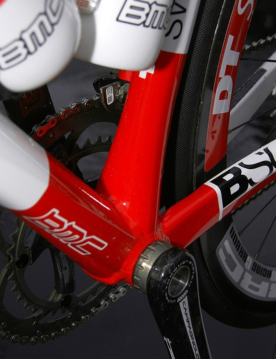 The seat tube is radically flared at the bottom bracket for extra rigidity.
