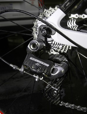 The rear derailleur not only handles eleven cogs now but has been stiffened up for snappier response.