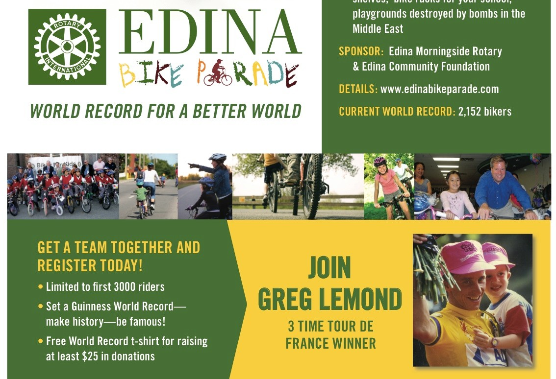Join Greg LeMond in a world record attempt in Minnesota.