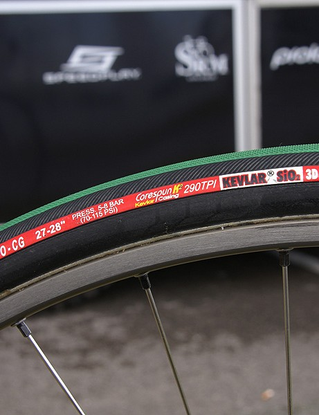 Vittoria's Pave EVO-CG tubulars are a popular choice among the peloton for the cobbled Classics but Cervélo Test Team riders will supposedly have a new tyre from Vittoria.