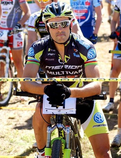 Spain's Jose Hermida looked calm before the start of the cross-country race