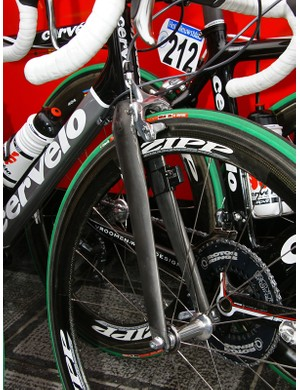 The fork is similarly adjusted with longer blades for additional tyre clearance and another long-reach caliper.