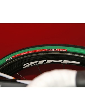 Hammond was using 24mm-wide Vittoria tubulars today but hmm… doesn't that rim seem awfully wide?