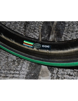 It looks like this might very well be Zipp's new ultra-durable 303 which is wider and more bulged than before.