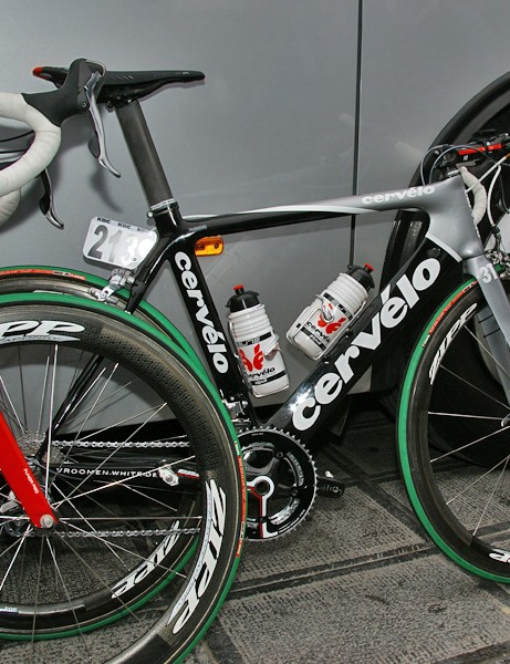Cervélo TestTeam sprinter and one-day specialist Thor Hushovd set off aboard a Cervélo S3 in contrast to the other riders' S2 frames.