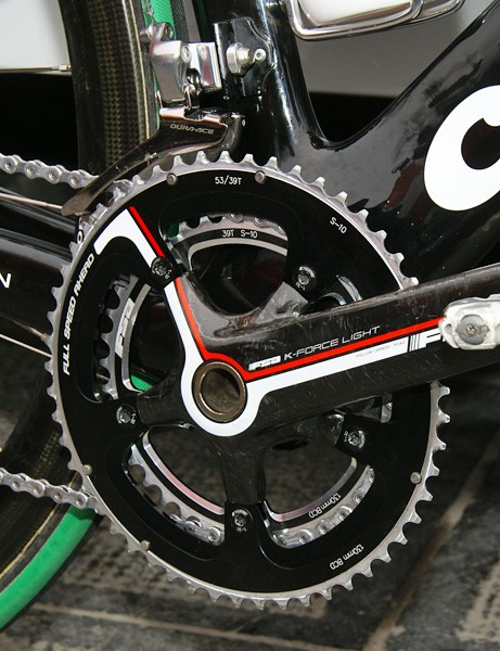 Like most of the team today, Hushovd's bike was fitted with an FSA crank and round chainrings.