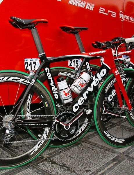 The side of the team bus was awash with Cervélo S2 bikes prior to the start in Brugge.