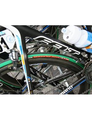 Dean and his Garmin-Slipstream teammates were among those using Zipp carbon tubular rims today.