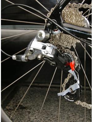 Breschel's bike was fitted with a Red rear derailleur…