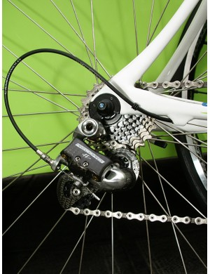 The new Record rear derailleur's stiffer body may have offered improved shifting on the bumps.