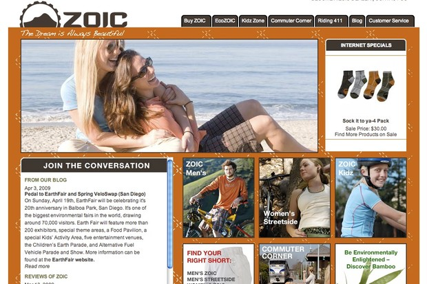 Zoic's new website includes a blog, Spring 2009 clothing line, and sections focused on adventure travel.