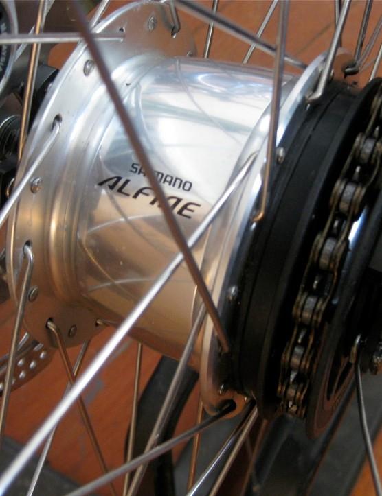 The Shimano Alfine 8-speed internal hub.