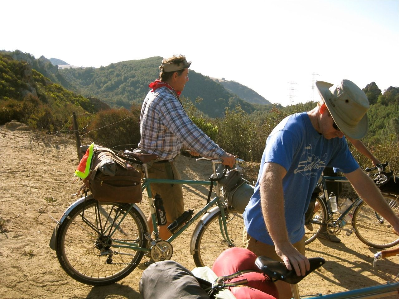 Petersen (L) enjoying some bike camping near Mt Diablo in Northern California.
