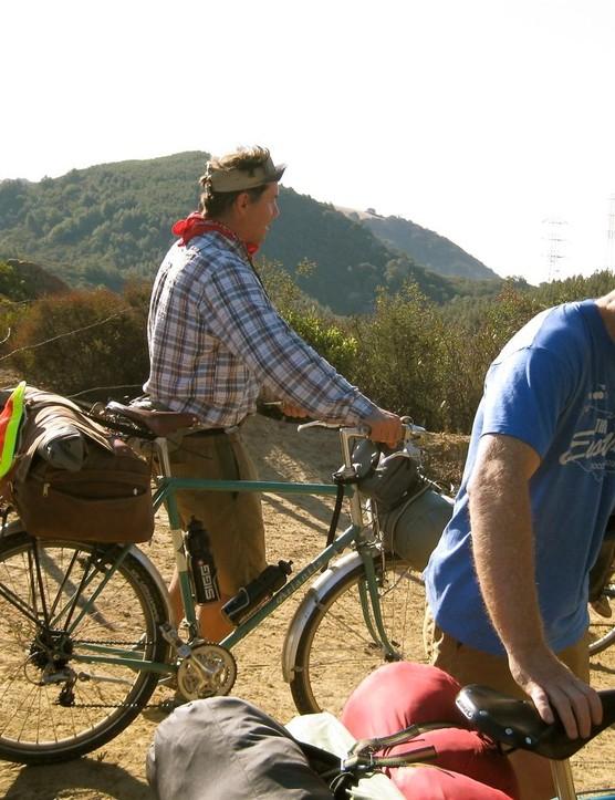 Petersen (L) enjoying some bike camping near Mt Diablo in Northern California.