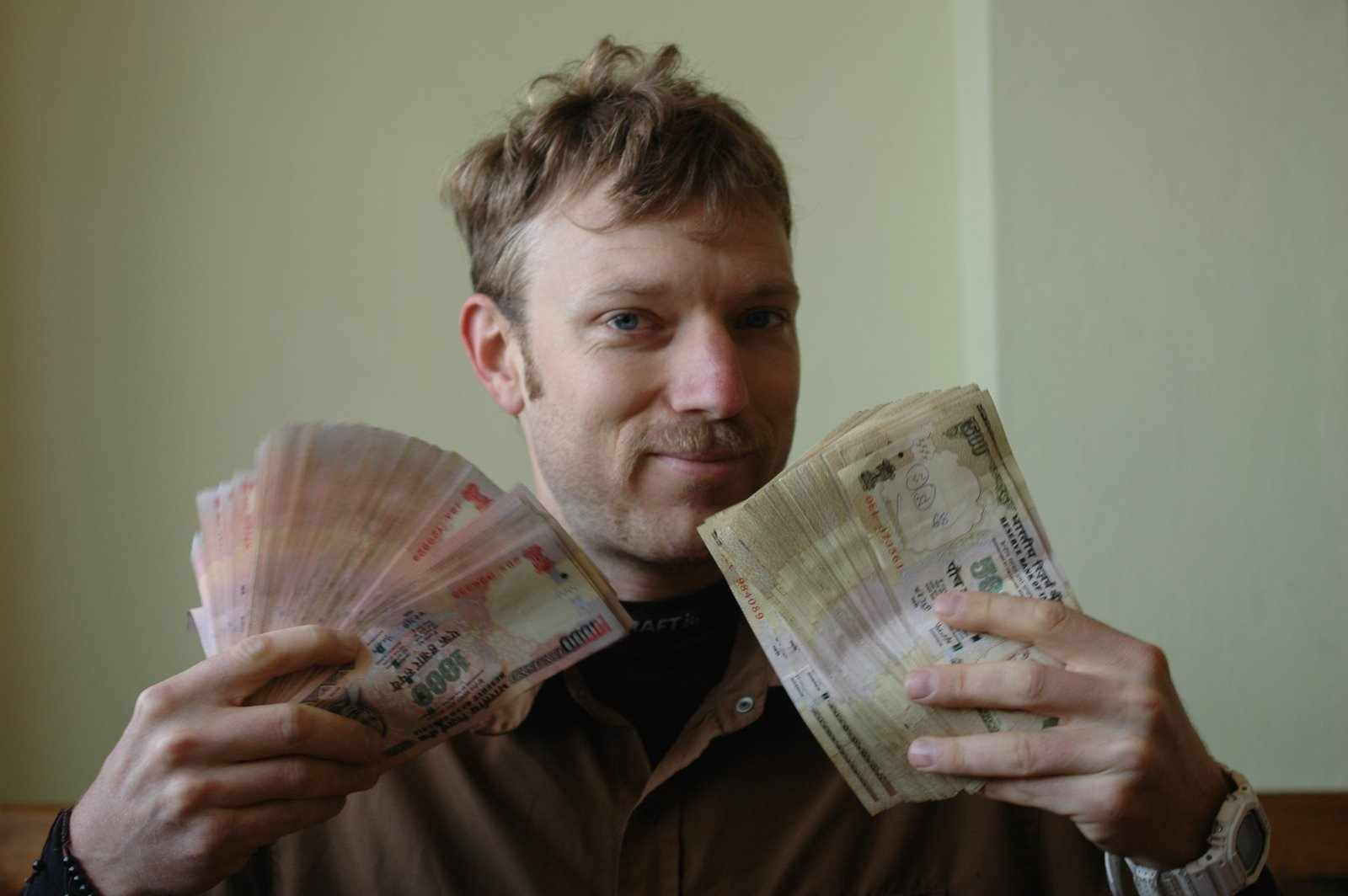 Endurance racer Harlan Price in India with the spoils of victory.