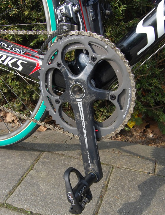 For whatever reason, Boonen has opted for the 10-speed version of Campagnolo's Record Ultra-Torque crankset.