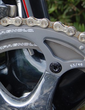 New tight-ratio 53/46T chainrings recently developed by Campagnolo are the perfect match for Paris-Roubaix's flatter parcours.