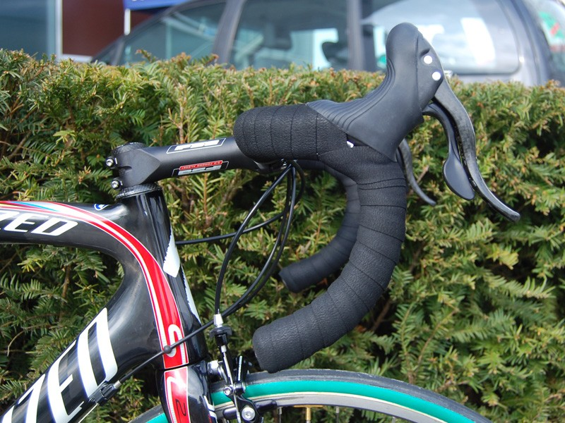 Boonen prefers FSA's New Ergo semi-anatomic bend and rotates them a little further forward on his Roubaix than on his usual Tarmac.