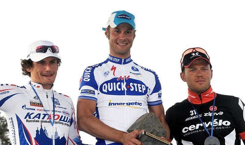 Filippo Pozzato (2nd), Tom Boonen (1st) and Thor Hushovd (3rd)