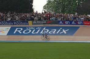 Boonen finally allows himself to celebrate his second Paris-Roubaix victory in two years.