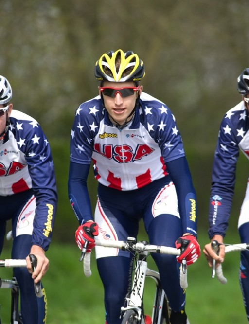 2009 USA Cycling National Development Team members Chris Barton, Taylor Phinney and Kirk Carlsen go for a training ride near Izegem, Belgium.