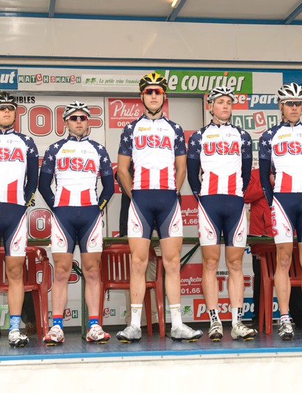 The 2009 USA Cycling National Development Team is presented before the Tryptique des Monts et Chateaux race in Belgium.