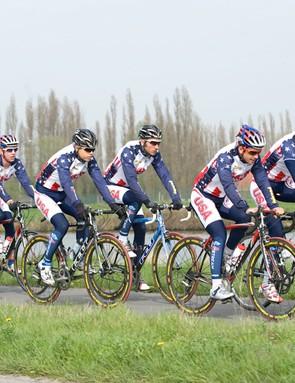 The 2009 USA Cycling National Development Team trains near Izegem, Belgium.