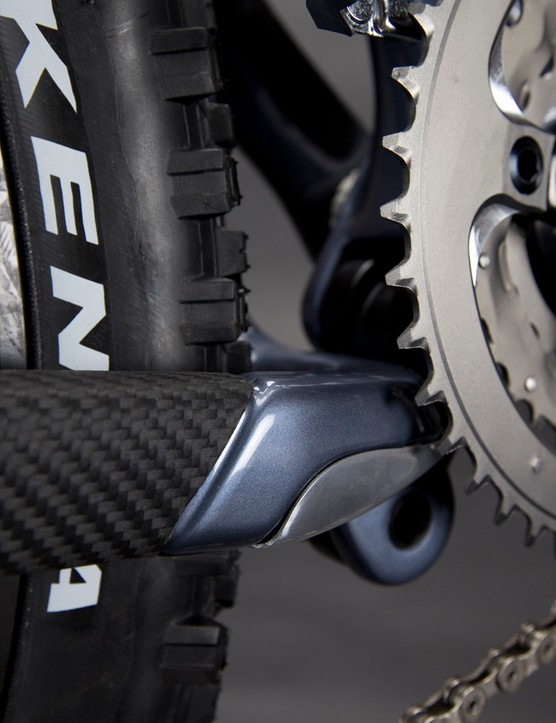 The Blur LT integrated chainstay protector.