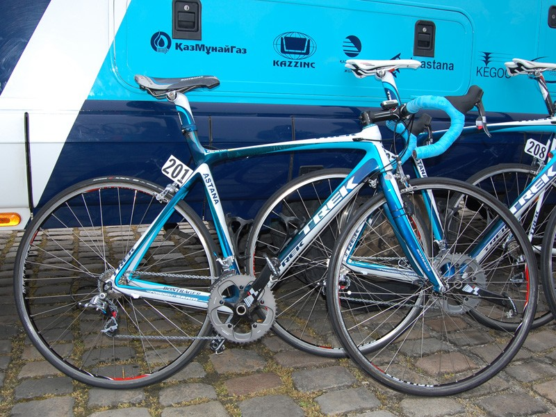 Team Astana used modified Trek Madone bikes for their run at Paris-Roubaix