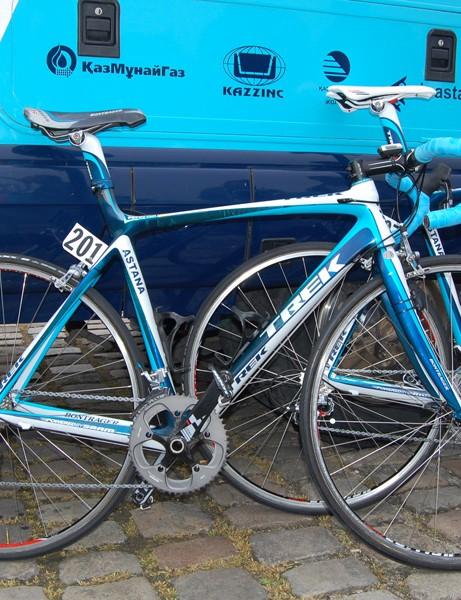 Team Astana used modified Trek Madone bikes for their run at Paris-Roubaix