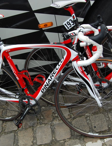 The other half of the Caisse d'Epargne team set forth on their usual Pinarello Prince road bikes