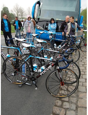 Milram's Focus bikes ready to go just before the start