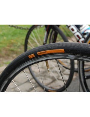 Milram's special Continental tubulars were roughly 25mm wide and wore a fine tread for extra grip