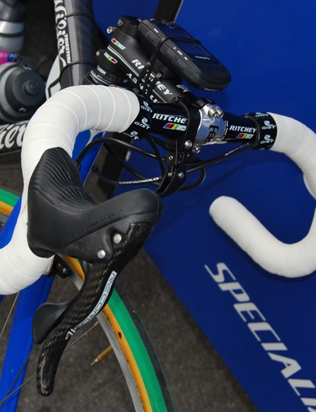 Double-wrapped bars and supplemental brake levers were common sights at this year's Paris-Roubaix